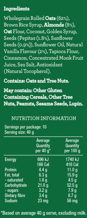 Low Fodmap Balance+ Muesli ingredients